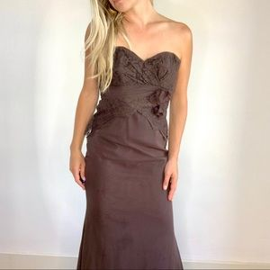 Alvina Valenta Maids Brown Strapless Dress sz 4